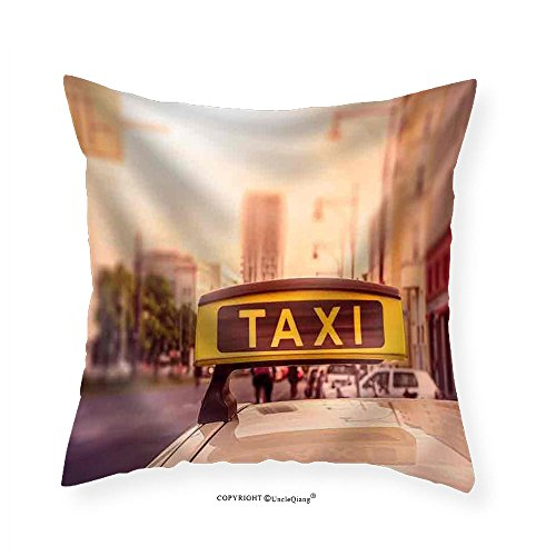 VROSELV Custom Cotton Linen Pillowcase Taxi Sign on Top of a German Cab in the Evening Sun Intentional Selective Focus - Fabric Home Decor - Celebrity Taxi