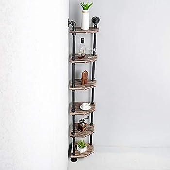 Weven 6-Tier Industrial Pipe Corner Shelves Modern/Rustic Book Shelves with Real Wood,Corner Bookshelf Display Stand,Metal Standing Home Decor Shelf Units