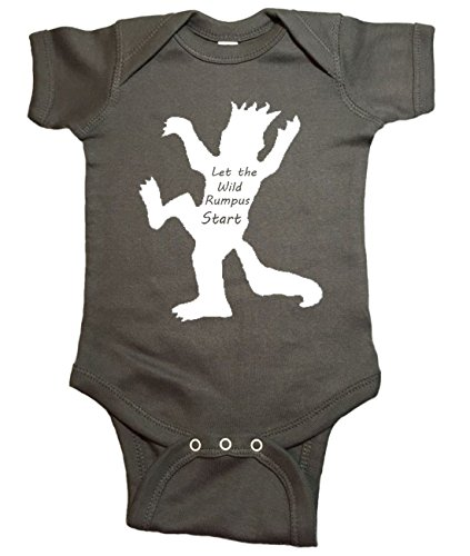 "Where The Wild Things Are Baby One Piece ""Wild Rumpus"" Bodysuit (12 Month, Charcoal)"