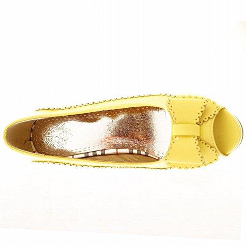 Mee Shoes Damen süß modern bequem Peep toe mit Schleife Borte runde Plateau Pumps mit hohen Absätzen Gelb