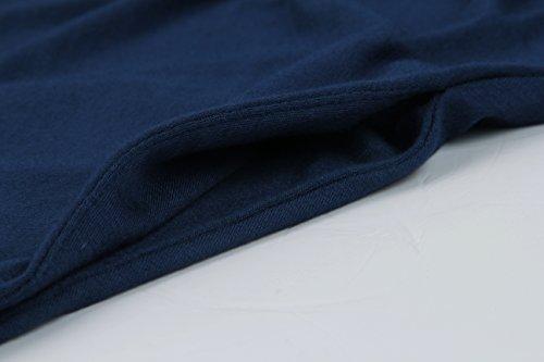 Coolending T-shirt Swing Épaule Froid Féminin Lâche Robe Tunique Marine Décontractée Avec La Poche-2xl