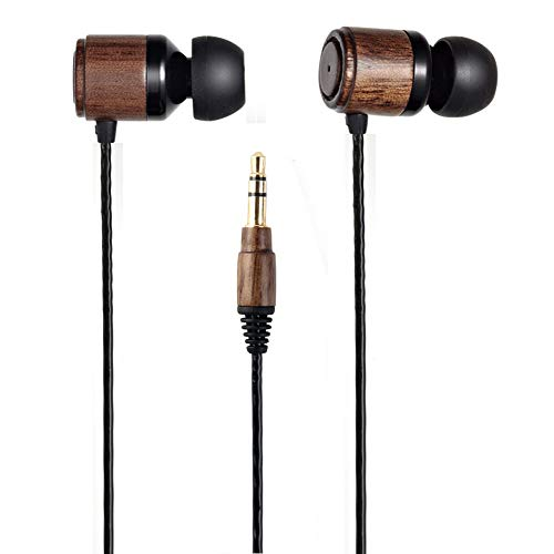 (Esmooth Wooden Wired Headphones Noise Cancelling in-Ear Earbuds HD Stereo Earphones Dual Dynamic Drivers Earpieces Walnut)