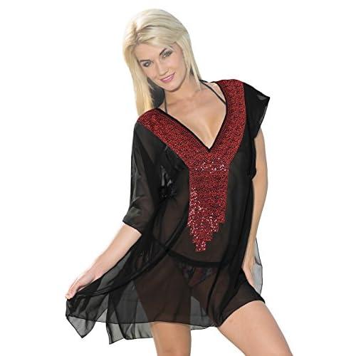 La Leela rouge super léger cocktail mousseline pure brodé du parti profond col 4 1 plage couvrir tunique basic station robe maillots bain porter robe femmes