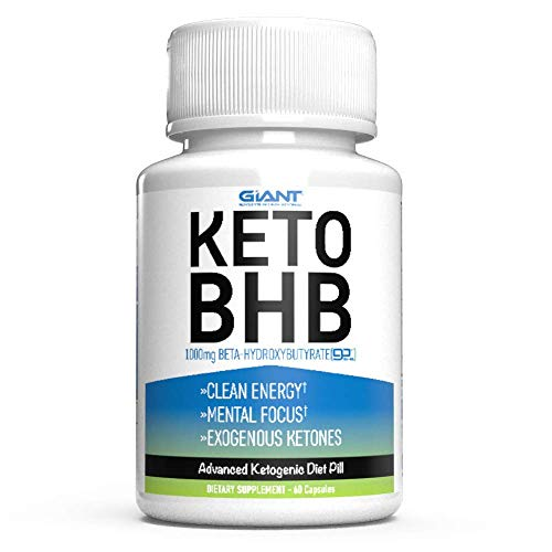 Giant Keto BHB - Exogenous Ketone Keto Pills with 1000mg of Beta-Hydroxybutyrate BHB Salts Supplement to Support a Ketogenic Diet - 60ct (Best Supplements For Ketogenic Diet)