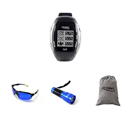 POSMA GM2C GM2 GPS Golf Watch Bundle Set With 1pc Golf Ball Finder Hunter Retriever Glasses + 1pc 14 LED Golf Ball Finder Torch Ultraviolet Flashlight UV Retriever + 1pc Flannel Storage Bag ()