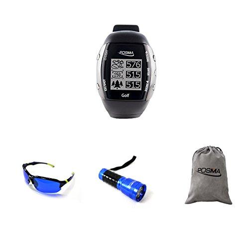 POSMA GM2C GM2 GPS Golf Watch Bundle Set With 1pc Golf Ball Finder Hunter Retriever Glasses + 1pc 14 LED Golf Ball Finder Torch Ultraviolet Flashlight UV Retriever + 1pc -