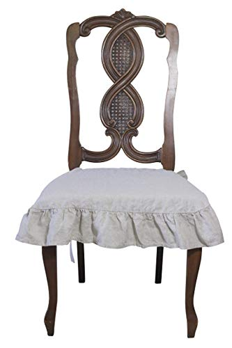 Dining Beautiful Linen Chair Seat Cover 4 Sided Ruffle Large (Natural)