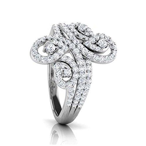 18K Or Blanc, 0,76carat Diamant Taille ronde (IJ | SI) en diamant