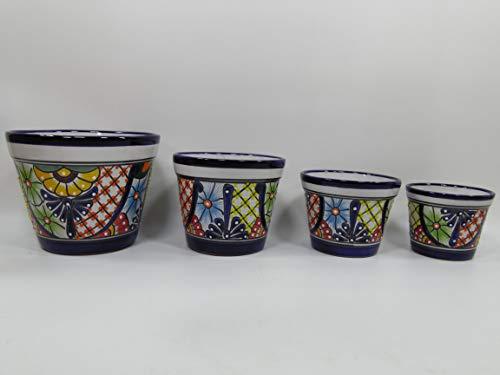 4 PLANTERS colorful mexican wholesale lot talavera ceramic plant/florer pot set