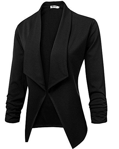 Ruched Sleeve Jacket (Womens Lightweight 3/4 Ruched Sleeve Open Front Cardigan Blazer Jacket (Black, (US 8-10) Medium))
