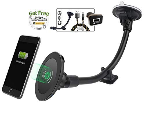 (Magnetic Wireless Car Charger, 2BConnect Premium Strong Mount Boost Charging Kit Includes CQ3.0 Adapter, 3A Cable for Qi Enabled Device Such as iPhone X 8/Plus, Samsung Galaxy S9/S8 + Edge)