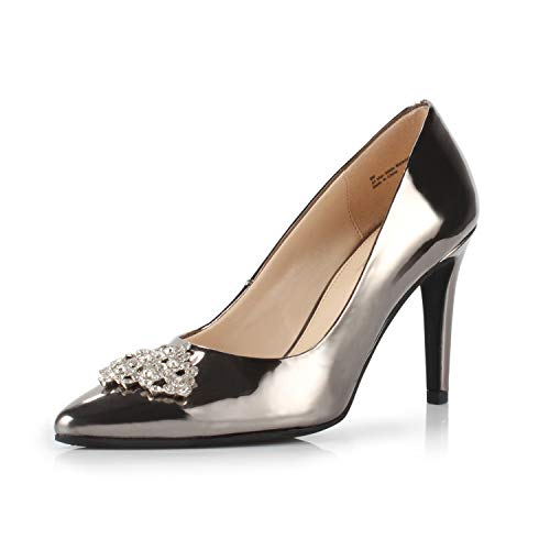 DUNION Women's Appoint Pointed Toe High Heel Stiletto Dress Pump Evening Party Wedding Shoes,Pewter,7 B(M) US -