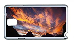 Cute Samsung N9000 sparkly cover Milford Sound New Zealand sunset mountains sea clouds PC White for Samsung Note 3/Samsung N9000