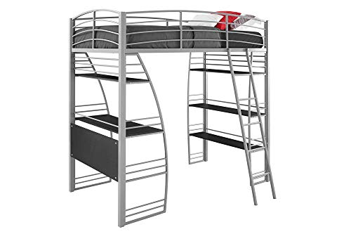 Grey Advantage Corner Desk - DHP Studio Loft Bunk Bed Over Desk and Bookcase with Metal Frame, Twin, Gray