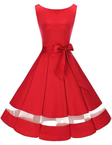 Bridesmay Vintage 50s Mujer Moda Casual Vestidos de Fiesta sin Mangas Rojo