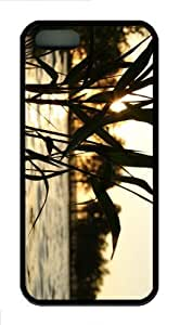 iPhone 5S Customized Unique Reed Sunset New Fashion TPU Black iPhone 5/5S Cases - Scenery Flowers