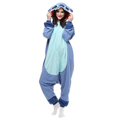 ROYAL WIND Adult Onesie Pajama Halloween Costumes for Adult and Teenagers Blue M ()