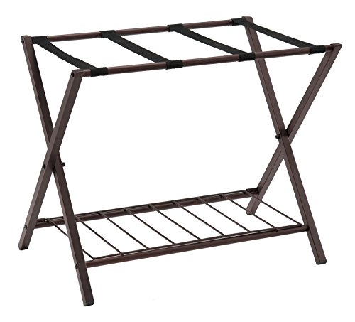 Kings Brand Metal Folding Luggage Rack with Shelf, Bronze