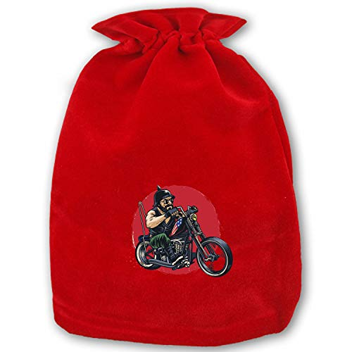 Folding Man Riding A Chopper Motorcycle Sport Drawstring Bag Home Christmas Storage Use