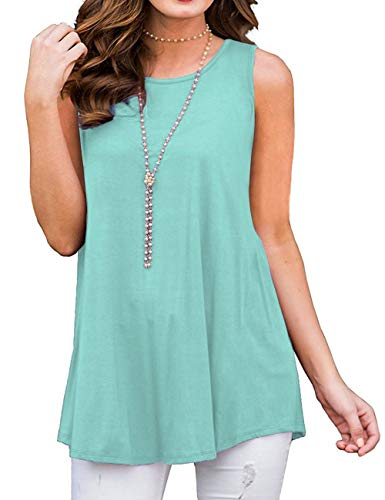 Womens Casual Tops Sleeveless Ladies Shirts Soild Color Loose Blouse Tank Tops LakeGreen M (Ladies Blouse Sleeveless)