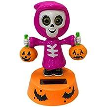 Kanzd Halloween Shaking Head Doll Solar Powered Dancing Swinging Animated Bobble Dancer Toy Car Decor