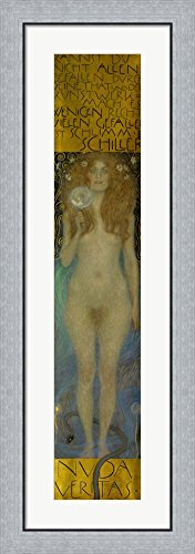 Nuda Veritas, 1899 by Gustav Klimt Framed Art Print Wall Picture, Flat Silver Frame, 16 x 44 inches