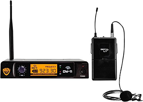 "Nady DW-11 Digital Wireless Lapel Microphone System – Ultra-low latency with QPSK modulation - XLR and ¼"" outputs – UHF range – The most affordable true digital system available today!"