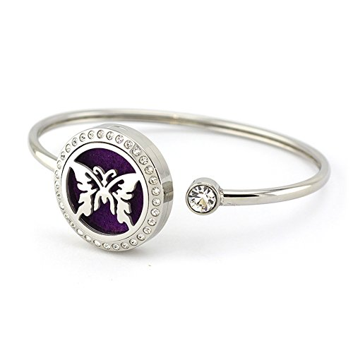 Butterfly Perfume Essential Oil Diffuser Bracelet Aromatherapy Adjustable Stainless Steel Crystal Bangle with Gift Box By - Is Where The Dolphin Mall