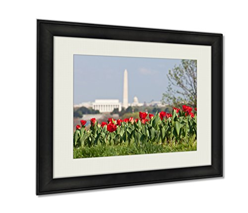 Ashley Framed Prints, Washington Dc Skyline With Lincoln Memorial Washington Monument And The Capitol, Black, 24x30 Art, - Mall Federal Way