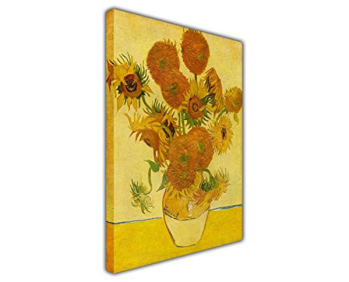 ElijahToby Sun Flowers by Vincent Van Gogh Oil Painting Reprint Framed Wall Art Pictures Canvas Prints Images Room Deco Size: 23.6