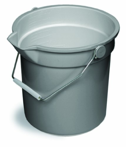 Continental 8114GY, Huskee Grey Bucket with Steel Handle and Pour Spout, 14qt Capacity, 12-3/16