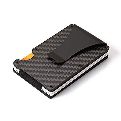 (Slim Front Pocket Wallet, RFID Blocking Credit Card Holder of Carbon Fiber Wallet, Money Clip)