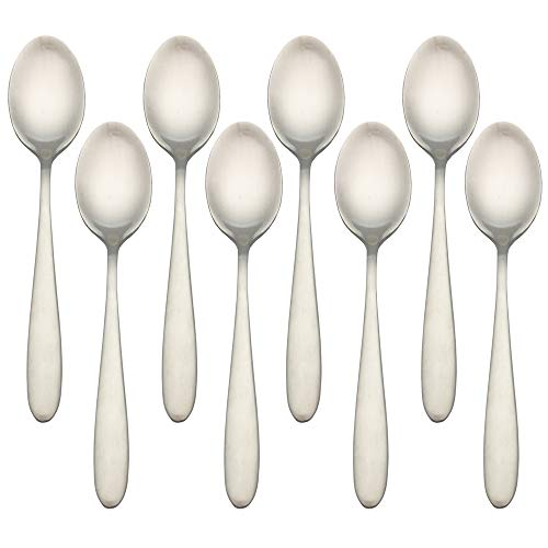 Higer Home 18/10 Stainless Steel Teaspoons Set of 8pcs, Heavy Duty Satin Flatware Silverware Cutlery Set, Silver 5.9-Inch (Teaspoon)