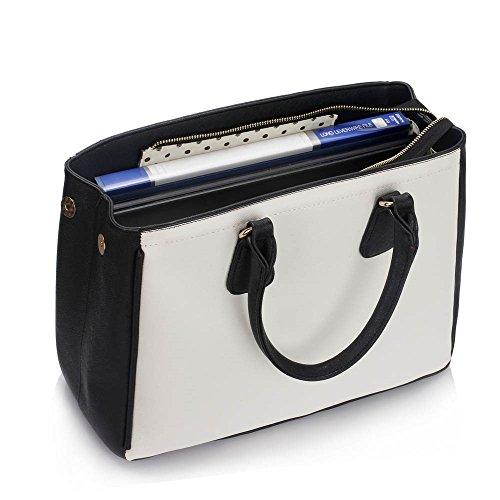 LeahWard® Damen Mode Essener Kunstleder Taschen Handtaschen Groß Tote Käufer Schultertasche CWS00359 (Schwarz/Weiß)