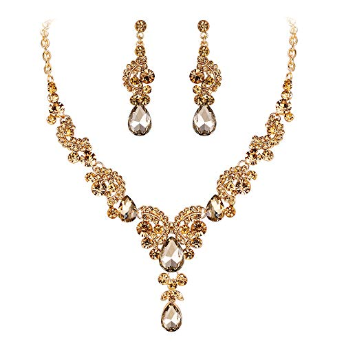 Earrings Necklace Floral Crystal (EVER FAITH Austrian Crystal Gorgeous Wedding Floral Wave Teardrop Necklace Earrings Set Brown Gold-Tone)