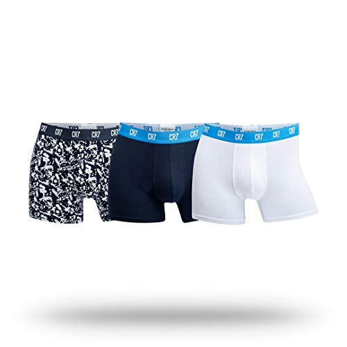 Cristiano Ronaldo CR7 Men's 3-Pack Trunk Cotton Stretch, White/Navy/Print, XX-Large