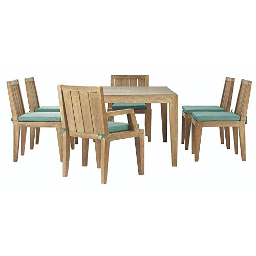Home Decorators Collection Bermuda 7-Piece All-Weather Eucalyptus Wood Patio Dining Set with Spa Blue Fabric Cushions (Dining Bermuda Set)