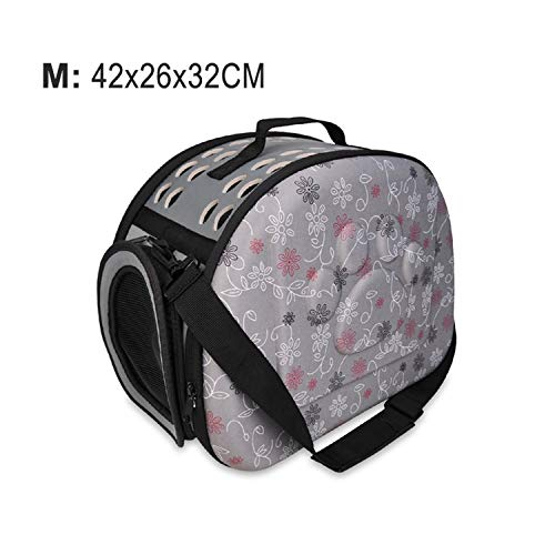 Better With You Foldable Dog Carrier Handbag Cat Travel Bag Breathable Shoulder Bags for Small Dogs Puppy Carrying Outdoor Pet Supplies,M-Gray