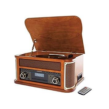 Tocadiscos retro bluetoothtm USB-CD/MP3 caja auto-stop ...