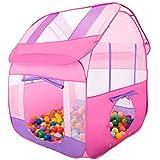 Aubeco Princess Pink Pop-up Play Tent Children Big Portable Play House Tent, 47.2''X 47.2''X 51.2''