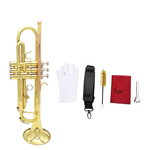ammoon Trumpet Bb B Flat Brass Phosphor Copper Exquisite with Mouthpiece Cleaning Brush Glove Strap by ammoon