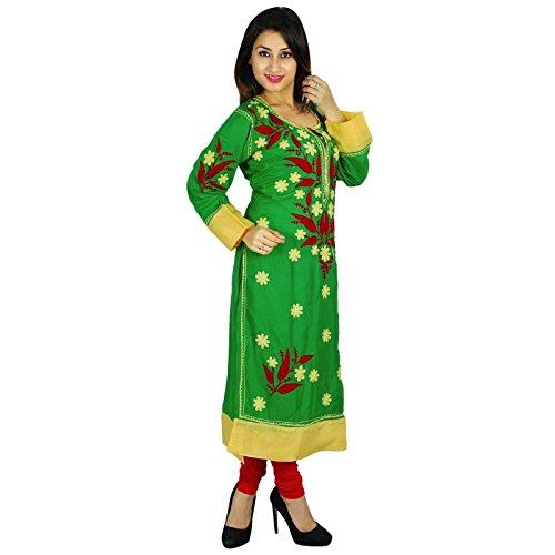 Diseñador indio étnico kurta Kurti Top casual de la túnica regalo para ella Mujeres Verde