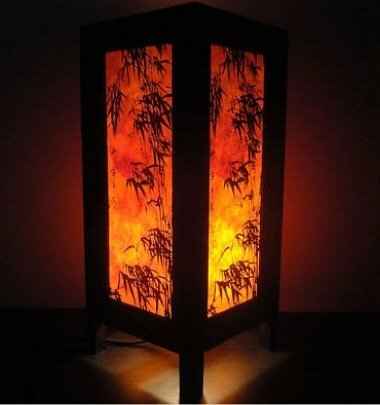 Thai Vintage Handmade ASIAN Oriental Dawning Sunset Japanese Art Bedside Desk or Table Lamp Shades by Thai Lanna Lump
