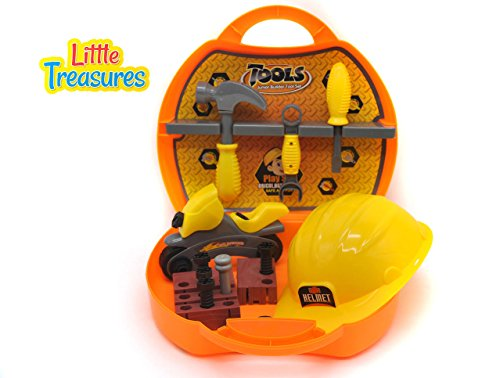 Hammer Motorcycle (Little Treasures Quality Deluxe Tool Box from Complete with Motorcycle, Helmet, Screwdriver with bits, Hammer, Wrench, Nails, Screws, Nuts, and Wooden Piece –Play Set for Children Over 36 Months.)