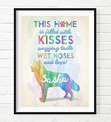 PERSONALIZED Name Pet Siberian Husky Huskies Dog Home Silhouette UNFRAMED ART PRINT - Christmas - Birthday- Housewarming gift home decor poster, ALL SIZES