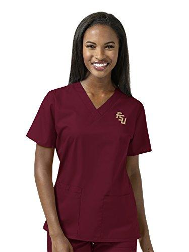 University State Louisiana Drapes (WonderWink Women's Florida State University V-Neck Top, Garnett, X-Small)