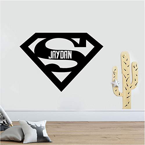 - zxfcccky Custom Name Design Wall Stickers Boys Room Doors Decor Vinyl Removable Decal Superhero Logo Fans Sticker Children 8057cm