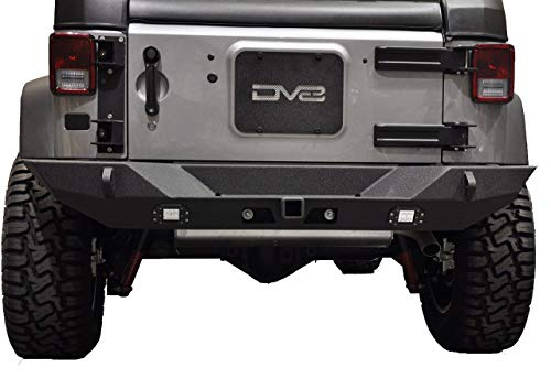 DV8 Jeep Wrangler Rear Bumper Hammer Forged 4x4 Offroad Bumper w/ Accessories Fits 07-17 JK Model Class 3 Tow Hitch, LED Lights, and D-Rings Compatible with TC-6 Tire Carrier RBSTTB-10