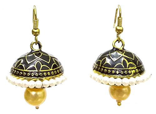 DESI HAWKER Meenakari Minakari Hand Painted Made Earring Bali Jhumki Jhumka Jewelry Bollywood Drop Dangle Chandelier NI-287 ()