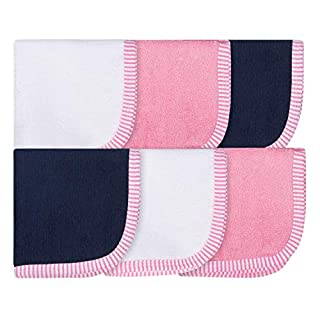 6-Pack 100% Cotton Terry Washcloths (Pink and Navy)